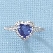 heart blue obsidian cubic zirconia ring by rebecca sloane