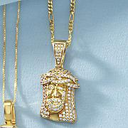 men s jesus likeness cubic zirconia pendant