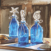 set of 3 blue coastal bottles