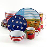 16 pc  america the beautiful dinnerware set by warren kimble