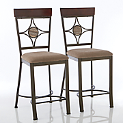 Set of 2 Diamond-Back Gathering-Height Dining Chairs