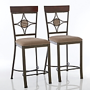 set of 2 diamond back gathering height dining chairs