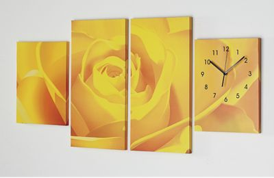 4 Panel Canvas Rose Wall Clock
