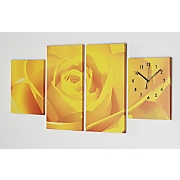 blue rose canvas wall clock
