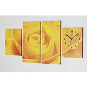 blue rose canvas wall clock