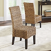 set of 2 abaca woven parson chairs