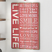 Live Life Wall Plaque