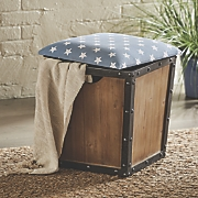 storage stool with fabric seat
