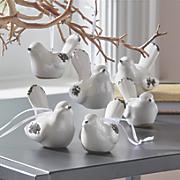 Set of 6 Ceramic White Antique Bird Ornaments
