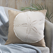 Sand Dollar Applique Pillow Cover