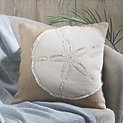 sand dollar applique pillow cover
