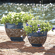 set of 2 blue planters