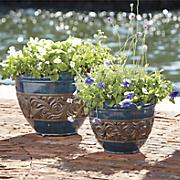 Set of 2 Blue Planters