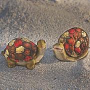 set of 2 solar mosaic creatures