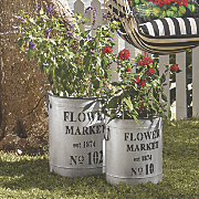 Set of 2 Market Flower Buckets