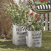 set of 2 market flower buckets