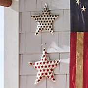 set of 2 burlap patriotic stars