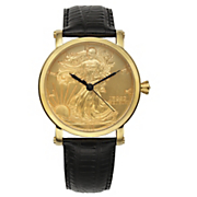 men s gold face liberty watch by croton
