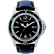 Men's Dress Watch with Black Leather Strap by Timex