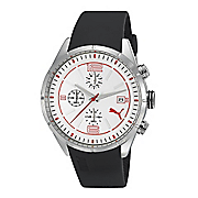 men s stainless steel white face chrono watch by puma