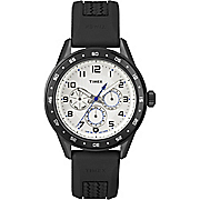 men s chrono watch with black silicone strap by timex