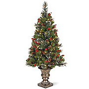 4  lighted crestwood spruce tree in urn