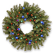 2  norwood fir wreath with multicolor lights