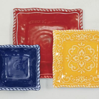 12-Piece Assorted Rope Rim Square Dinnerware Set