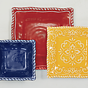 12-Piece Assorted Rope Rim Square Dinnerware Set