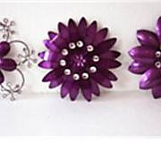 Purple Crystal Wall Flower Set