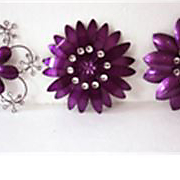 Purple Crystal Wall Flower Set