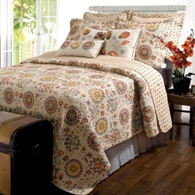 Andorra Quilt Set, Neck Pillow, Decorative Pillows and Throw