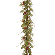 6' Lighted Holly Leaves Garland