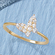 10k butterfly cubic zirconia ring