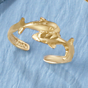 10K Double Dolphin Toe Ring
