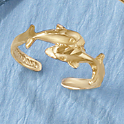 10k double dolphin toe ring