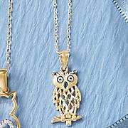 14k owl pendant