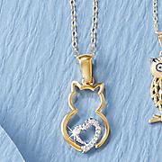 diamond cat heart pendant