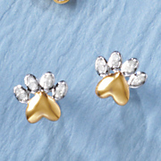 diamond dog paw earrings