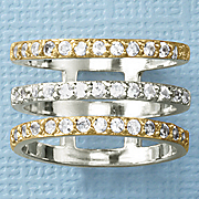 white sapphire two tone open 3 bar ring