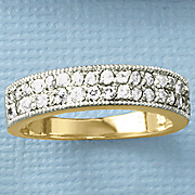 white sapphire 2 row pave ring