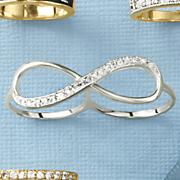 white sapphire infinity double finger ring