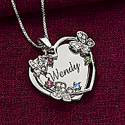 name heart with cubic zirconia butterflies and birthstones pendant