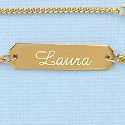 name rectangle plate anklet