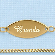 name oval plate anklet