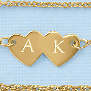double heart anklet