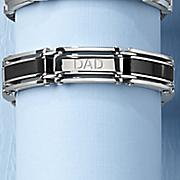 stainless steel black dad bracelet