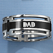 stainless steel black dad ring
