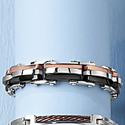 men s stainless steel tri color bracelet