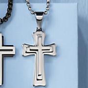 men s stainless steel 3d cross pendant